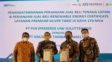 Perjanjian Jual Beli Tenaga Listrik (PJBTL) dan Perjanjian Jual Beli Renewable Energy Certificate (PJBREC) Daya 170 MVA antara PT ATS dan PLN.