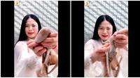 Seaside Girl saat mencoba makan gurita (Sumber: Twitter/IlovebeinBlack)