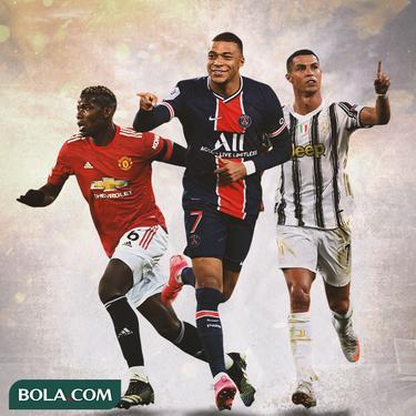 Ilustrasi - Paul Pogba, Kylian Mbappe, Cristiano Ronaldo