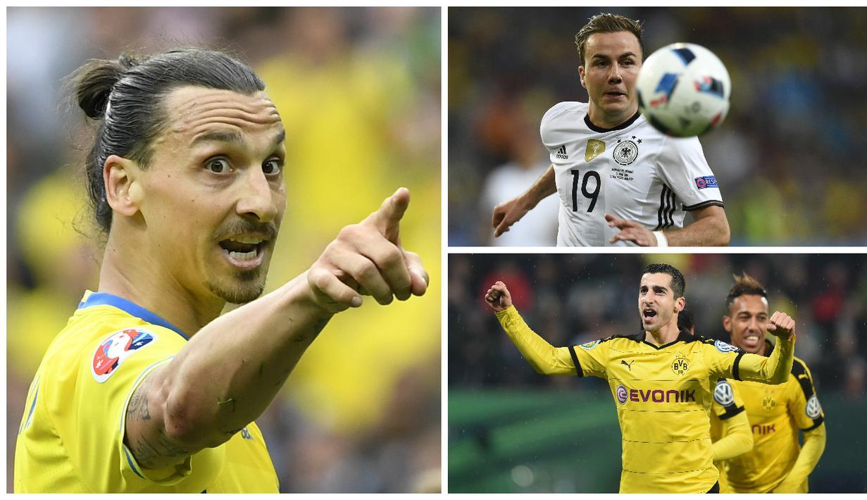 Kabar transfer terkini, Kamis (16/6/2016), diwarnai rencana Munchen menyaingi MU untuk mendapatkan Zlatan Ibrahimovic dan keinginan Arsenal boyong Mario Gotze. (AFP)