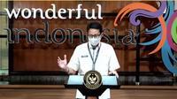 Sandiaga Uno membahas tentang dana hibah pariwisata dan bantuan insentif pemerintah secara daring, Senin (24/5/2021) (Liputan6.com/Komarudin)