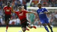 Manchester United menjamu Cardiff City di Old Trafford pada laga pekan ke-38 Premier League, Minggu (12/5/2019). (Martin Rickett/PA via AP)
