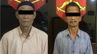 Dahlan dan Sumadi, dua kakek bandar judi Siejie yang diamankan Polsek Sekupang. (Batamnews.co.id/Ist)