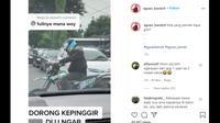 Seperti dilansir akun Instagram @agoez_bandz4, Kamis (10/9/2020), terlihat seorang pengendara motor trail kesulitan mengontrol tarikan gas kendaraannya.