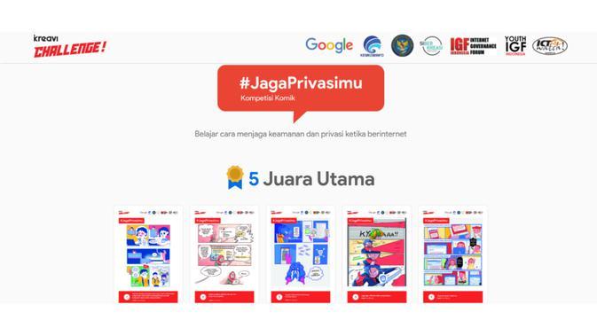 Kompetisi Komik Jaga Privasimu Hasilkan 5 Pemenang Utama. Kredit: Kreavi