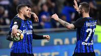 Inter Milan menang 4-0 atas Cagliari pada laga pekan ke-33 Serie A, di Giuseppe Meazza, Selasa (17/4/2018) waktu setempat. (AFP/Miguel Medina)