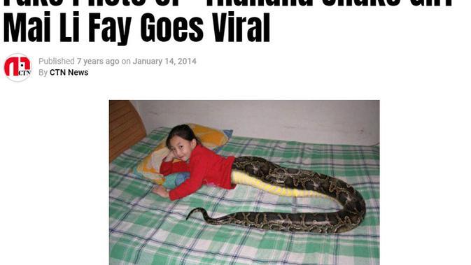Cek Fakta Liputan6.com menelusuri artikel foto gadis ular