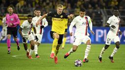 2. Erling Haaland (Norwegia) - Striker muda berusia 19 tahun ini tampil impresif selama membela Borussia Dortmund. Di Timnas Norwegia, Erling Haaland sudah tampil sejak U-15 dan telah 2 kali bermain untuk Timnas Senior. (AFP/Ina Fassbender)