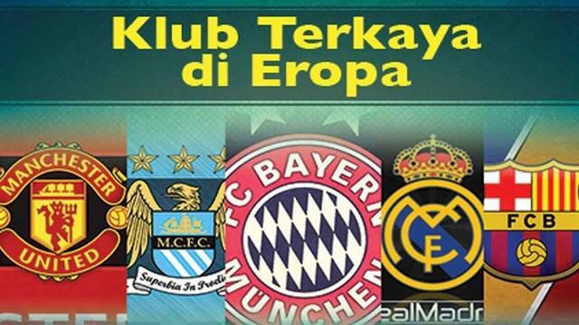 Video 5 klub sepak bola terkaya di Eropa versi totalsportek di antaranya Real Madrid, Bayern Munchen, Barcelona, Manchester City dan Manchester United.