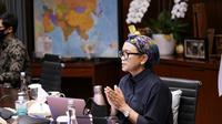 Menlu Retno menghadiri Pertemuan Terbuka Tingkat Tinggi Dewan Keamanan (DK) PBB mengenai Perlindungan Warga Sipil dalam Konflik Bersenjata, yang dilakukan melalui video teleconference, 27 Mei 2020. (Dok: Kemlu RI)