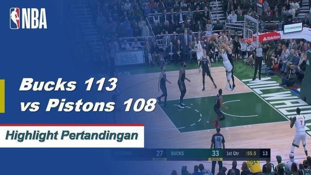 Giannis membukukan 15 poin, 8 rebound, dan 7 assist untuk Bucks saat mereka menang atas Pistons, 121-98.
