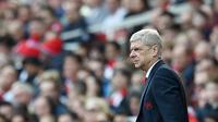 Ekspresi pelatih Arsenal, Arsene Wenger, setelah membawa timnya meraih kemenangan 4-0 melawan Watford, Sabtu (2/4/2016). (EPA/Andy Rain)