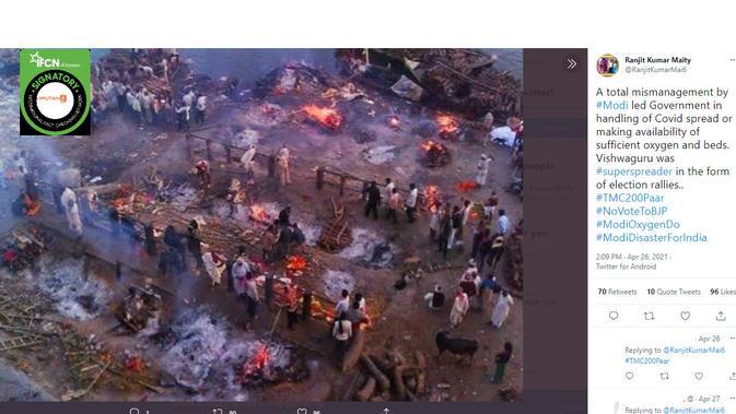 Cek Fakta Liputan6.com menelusuri klaim foto pembakaran saat penyebaran Covid-19 India