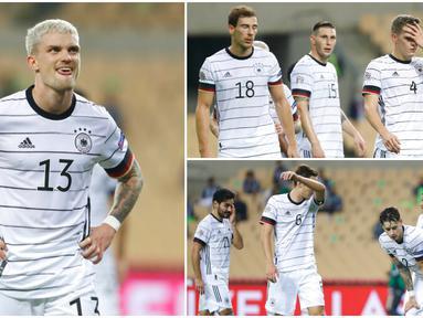 Para pemain Jerman tak mampu menutupi kekecewaan dan rasa malu usai dipecundangi Spanyol pada laga UEFA Nations League. Tak tanggung-tanggung Tim Matador gilas Der Panzer enam gol tanpa balas.
