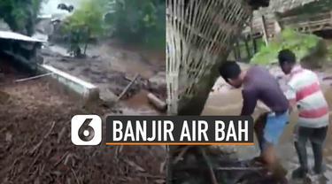 Beredar video banjir air bah di kawasan Kecamatan Belawan, Kabupaten Bondowoso.