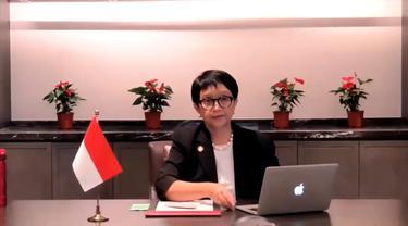 Menlu Retno Marsudi dalam virtual press briefing dengan awak media pada Senin (7/6/2021) usai pertemuan ASEAN-RRT.