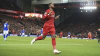Selebrasi Divock Origi saat Liverpool menerkam Everton (AP)