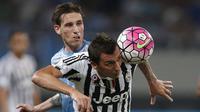 Striker Juventus, Mario Mandzukic (kanan) berebut bola dengan pemain Lazio, Lucas Biglia, dalam final Piala Super Italia 2015 di Stadion Shanghai, Tiongkok. Sabtu (8/8/2015). (Reuters/Aly Song)
