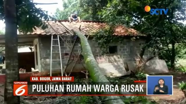 Puluhan rumah di Kecamatan Leuwiliang, Kabupaten Bogor, rusak akibat angin kencang yang disertai hujan deras. Bahkan sebuah rumah warga tertimpa pohon yang tumbang.