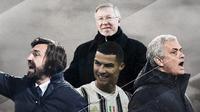 Cristiano Ronaldo, Jose Mourinho, Andrea Pirlo dan Alex Ferguson. (Bola.com/Dody Iryawan)