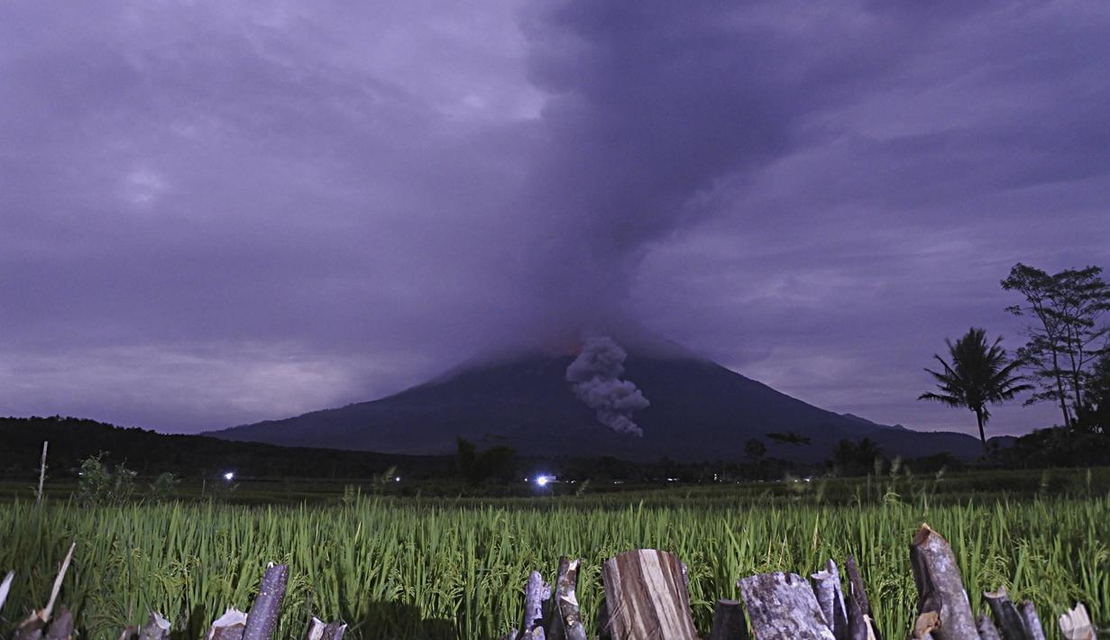 Material vulkanik dimuntahkan dari kawah Gunung Semeru di Lumajang, Jawa Timur, Indonesia, Selasa (1/12/2020). Gunung Semeru, di Kabupaten Lumajang, Jawa Timur meletus pada Selasa dini hari, 1 Desember 2020. (AP Photo)