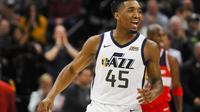 Donovan Mitchell tampil istimewa sebagai rookie Utah Jazz pada kampanye debutnya di NBA. (AP Photo/Alex Goodlett)