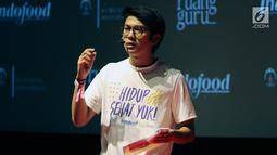 Brand Ambassador Ruangguru Iqbaal Ramadhan berbicara dalam peluncuran program Hidup Sehat Yuk di Jakarta, Minggu (22/7). Program ini berupa konten edukasi digital. (Liputan6.com/JohanTallo)
