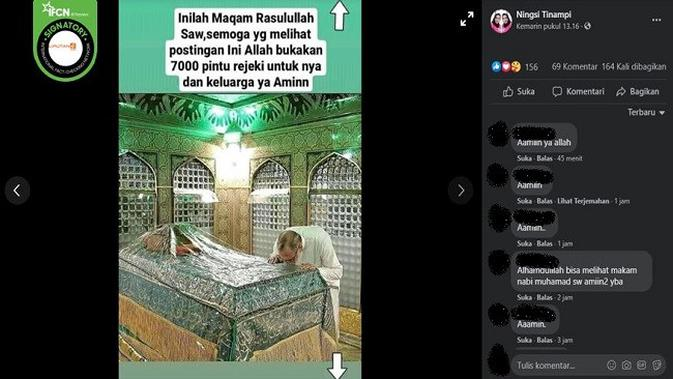 Gambar Tangkapan Layar Foto yang Diklaim Makam Rasulullah SAW (sumber: Facebook)