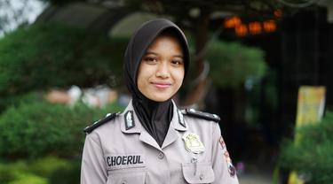 Bripda Choerul Diani, Polwan cantik pelantun Salawat yang bikin warganet Kebumen kesengsem. (Foto: Liputan6.com/Polres Kebumen/Muhamad Ridlo).