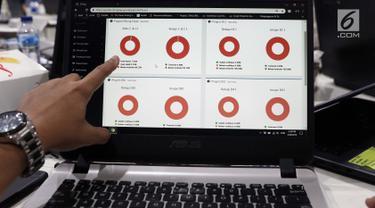 Petugas KPU menunjukkan contoh progres hitung cepat yang ada pada sistem informasi penghitungan suara Pemilu 2019 di Gedung KPU, Jakarta, Rabu (20/3). Komisioner KPU, Ilham Saputra mulai melakukan uji coba sistem ini. (Liputan6.com/Helmi Fithriansyah)