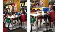 Pria asal Filipina terlihat memberi makan anak jalanan di Jollibee (facebook.com/PatrishaCapillan)