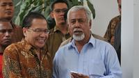Eks Perdana Menteri dan Presiden Timor Leste Xanana Gusmao bertemu Menko Kemaritiman Rizal Ramli. (Liputan6.com/Johan Tallo)