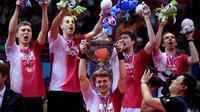 Tim Thomas Denmark berhasil menjadi juara Piala Thomas, China, Minggu (22/5). Di partai puncak Denmark sukses mengalahkan Indonesia dengan skor tipis 3-2. (AFP Photo/Johannes Eisele)