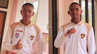 Calon Paskibraka Nasional 2019 dari Sumatra Barat, Roni Kurniawan (kanan) dan DI Yogyakarta, Muhammad Ma'ruf (kiri) sehabis potong rambut. (Foto: Liputan6.com/Aditya Eka Prawira).