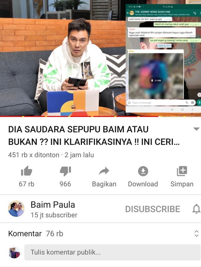 Unggahan Baim Wong. (Foto: YouTube Baim Paula)