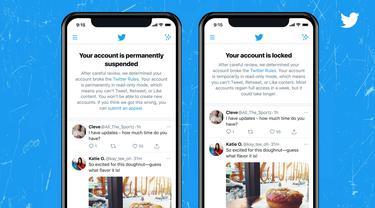 Twitter uji coba notifikasi bagi para pengguna yang akunnya ditangguhkan atau dikunci karena dianggap melanggar aturan (Dokumentasi Twitter)