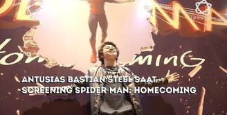 Seperti ini antusias Bastian Steel saat hadir di Oppo Screening film Spider-Man: Homecoming.