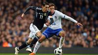 Timnas Italia menelan kekalahan 0-2 kontra Argentina pada laga persahabatan di Stadion Etihad, Jumat (23/3/2018). (AP Photo/Dave Thompson)