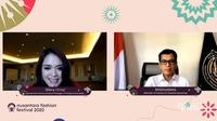 Menparekraf Wishnutama Kusubandio berbicara di Nusantara Fashion Festival 2020. (Liputan6.com/Brigitta Valencia Bellion)