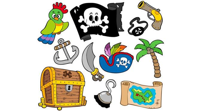 Contoh stiker untuk mendekor dinding bertemakan bajak laut.