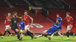Setelah unggul 2-0 pada babak pertama, Manchester United justru mengendur pada awal babak kedua. Everton mampu bangkit dengan begitu cepat. (Michael Regan/Pool via AP)