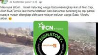 Cek Fakta- Israel Larang Warga Gaza Memancing Ikan.(Facebook Andi Irawaty Asm-Berkah)
