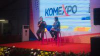 Ming Lim Kuok,  Advisor for Communication and Information UNESCO menjelaskan tentang pentingnya memerangi berita palsu atau hoax kepada siswa yang datang dalam KomExpo (Liputan6.com / Siti Khotimah)