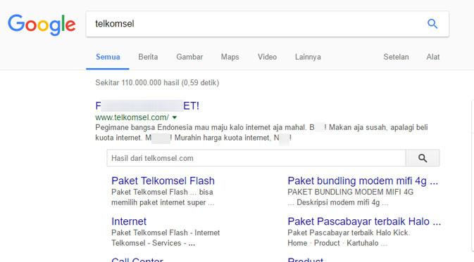 Tampilan yang muncul ketika mengetikkan Telkomsel di situs pencarian Google. Liputan6.com/ Mochamad Wahyu Hidayat