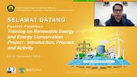 PPSDM KEBTKE bekerjasama dengan United Nations Development Program (UNDP) menyelenggarakan pelatihan.