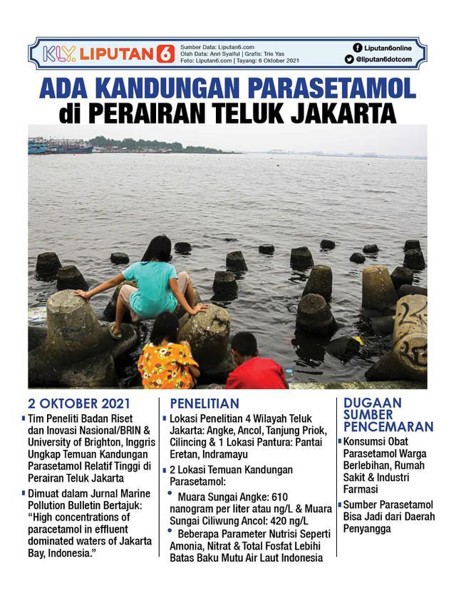 Infografis Ada Kandungan Parasetamol di Perairan Teluk Jakarta. (Liputan6.com/Trieyasni)