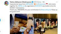 Bos WHO, Tedros Adhanom Ghebreyesus memberikan apresiasi langsung kepada BTS ARMY Indonesia atas penyelenggaraan vaksinasi COVID-19. (Foto: Tangkapan layar Twitter @drtedros)