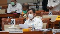 Menteri Kesehatan RI Terawan Agus Putranto menghadiri rapat gabungan terkait RUU Penanggulangan Bencana pada 7 Agustus 2020. (Kementerian Kesehatan RI)