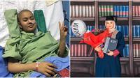 Aida Rashidi saat menjalani perawatan dan saat wisuda (Sumber: Instagram/Aidarashidi)