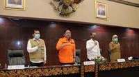 Rapat bersama penerapan PSBB di ruang rapat Parameswara Setda Palembang (Dok. Humas Kominfo Palembang / Nefri Inge)